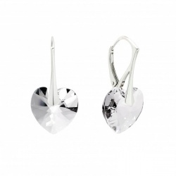Earrings - Swarovski Crystals Hearts 10mm Crystal - 925 Sterling Silver + BOX