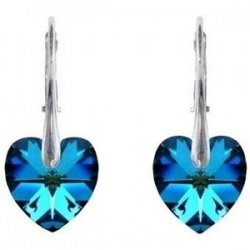 Earrings - Swarovski Crystals Hearts 10mm Bermuda Blue - 925 Sterling Silver + BOX