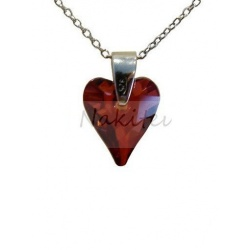 Necklace - Swarovski Crystal 925 Sterling Silver - Wild 12mm Red Magma + BOX