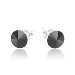 Earrings - Swarovski Crystals 925 Sterling Silver - RIVOLI 8mm Black Diamond