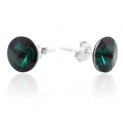 Earrings Stud - Swarovski Crystals 925 Sterling Silver - RIVOLI 8mm Emerald + BOX