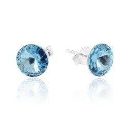 Earrings - Swarovski Crystals – 925 Sterling Silver - RIVOLI 8mm Aquamarine