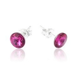 Earrings - Swarovski Crystals 925 Sterling Silver - RIVOLI 8mm Fuchsia
