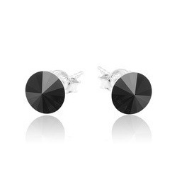 Earrings Stud - Swarovski Crystals 925 Sterling Silver - RIVOLI 8mm Jet + BOX
