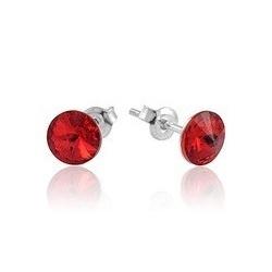Earrings - Swarovski Crystals 925 Sterling Silver - RIVOLI 8mm Light Siam