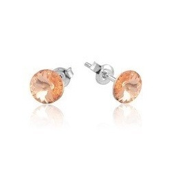 Earrings Stud - Swarovski Crystals 925 Sterling Silver - RIVOLI 8mm Light Peach + BOX