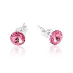 Stud Earrings - Swarovski Crystals 925 Sterling Silver - RIVOLI 8mm Rose + BOX