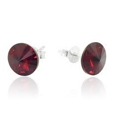 Earrings - Swarovski Crystals 925 Sterling Silver - RIVOLI 8mm Siam