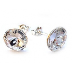 Earrings Stud - Swarovski Crystals 925 Sterling Silver - RIVOLI 8mm Crystal + BOX