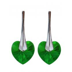 Earrings - Swarovski Crystals Hearts 10mm Fern Green - 925 Sterling Silver + BOX