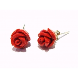 Earrings Coral Red Roses - 925 Sterling Silver