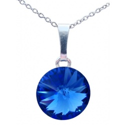 Necklace - Swarovski Crystal 925 Sterling Silver - Rivoli 12mm Sapphire + BOX