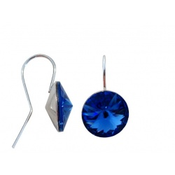 Hook Earrings Open - Swarovski Crystals 925 Sterling Silver - RIVOLI 12mm Sapphire + BOX