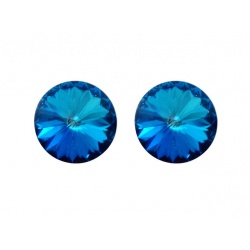 Earrings Stud - Swarovski Crystals 925 Sterling Silver - RIVOLI 12mm Bermuda Blue + BOX
