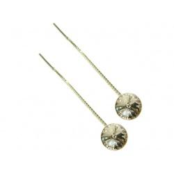 Hook Earrings Open - Swarovski Crystals 925 Sterling Silver - RIVOLI 8mm Golden Shadow