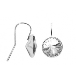Hook Earrings Open - Swarovski Crystals 925 Sterling Silver - RIVOLI 12mm Crystal + BOX