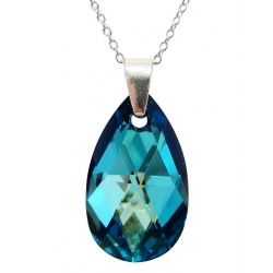 Necklace - Swarovski Crystal 925 Sterling Silver - Almond 22mm Bermuda Blue + BOX