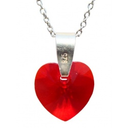 Necklace - Swarovski Crystal 925 Sterling Silver - Heart 10mm Light Siam + BOX