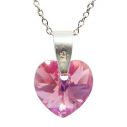 Necklace - Swarovski Crystal 925 Sterling Silver - Heart 10mm Rose AB + BOX