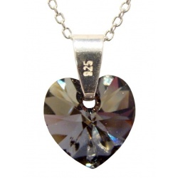 Necklace - Swarovski Crystal 925 Sterling Silver - Heart 10mm Silver Night