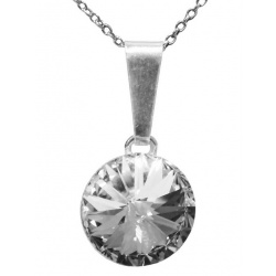 Necklace - Swarovski Crystal 925 Sterling Silver - Rivoli 12mm Crystal