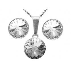 SET Chain, Pendant & Earrings - Swarovski Crystals 925 Sterling Silver - Rivoli Crystal 12mm + BOX