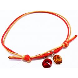 Thread Bracelet - Swarovski Crystals Rivoli 8mm - siam + topaz