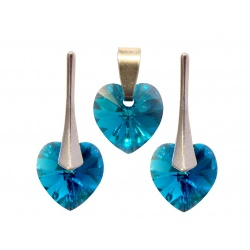 SET Earrings & Pendant - Swarovski Crystals Hearts Blue Zircon AB 10mm - 925 Sterling Silver