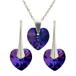 SET Earrings & Necklace - Swarovski Crystals Hearts Heliotrope 10mm - 925 Sterling Silver + BOX