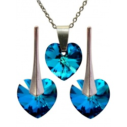 SET Earrings & Necklace - Swarovski Crystals Hearts Bermuda Blue 10mm - 925 Sterling Silver + BOX