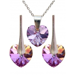 SET Earrings & Necklace - Swarovski Crystals Hearts Vitrail Light 10mm - 925 Sterling Silver + BOX