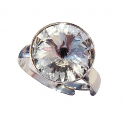 Reguliran Ring - Swarovski Crystals Rivoli 12mm Crystal  - 925 Sterling Silver
