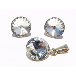 SET Earrings & Pendant - Swarovski Crystals 925 Sterling Silver - Rivoli Crystal 12mm