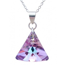 Necklace - Swarovski Crystal 925 Sterling Silver - Xilion 16mm Vitrail Light + BOX