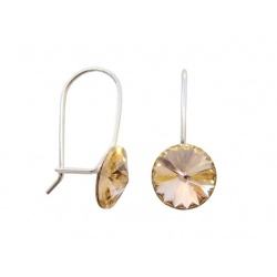 Hook Earrings Closed - Swarovski Crystals 925 Sterling Silver - RIVOLI 8mm Light Peach + BOX