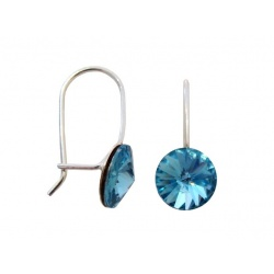 Hook Earrings Closed - Swarovski Crystals 925 Sterling Silver - RIVOLI 8mm Aquamarine + BOX