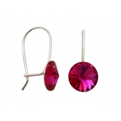 Hook Earrings Closed - Swarovski Crystals 925 Sterling Silver - RIVOLI 8mm Fuchsia + BOX