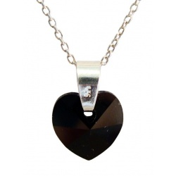 Necklace - Swarovski Crystal 925 Sterling Silver - Heart 10mm Jet + BOX