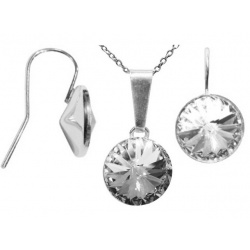 SET Necklace & Hook Earrings Open - Swarovski Crystals 925 Sterling Silver - Rivoli 12mm Crystal + BOX