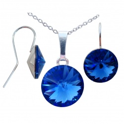 SET Necklace & Earrings - Swarovski Crystals – 925 Sterling Silver - Rivoli 12mm Sapphire + BOX