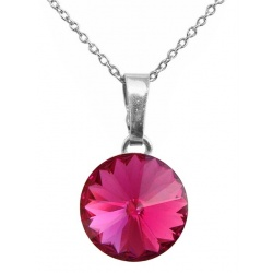 Necklace - Swarovski Crystal 925 Sterling Silver - Rivoli 12mm Fuchsia + BOX
