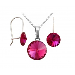 SET Necklace & Hook Earrings Closed - Swarovski Crystals 925 Sterling Silver - Rivoli 8 & 12mm Fuchsia + BOX