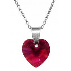 Necklace - Swarovski Crystal 925 Sterling Silver - Heart 10mm Fuchsia AB + BOX