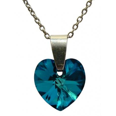 Ogrlica - kristal Swarovski u srebru 925 - Srce 10mm Bermuda Blue + KUTIJA