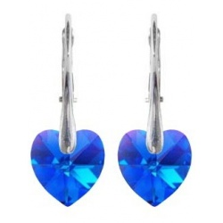 Earrings - Swarovski Crystals Hearts 10mm Sapphire AB - 925 Sterling Silver + BOX