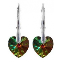 Earrings - Swarovski Crystals Hearts 10mm Vitrail Medium - 925 Sterling Silver + BOX