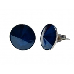 Earrings Stud - Swarovski Crystals 925 Sterling Silver - RIVOLI 12mm Royal Blue + BOX