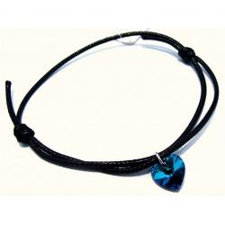 Bracelet - Swarovski Crystals Heart 10mm Bermuda Blue