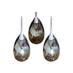 Naušnice i privjesak sa Swarovski kristalima Badem Heliotrope 22mm - Srebro 925