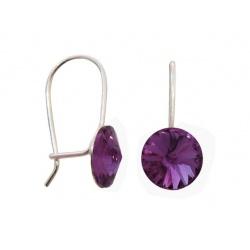 Hook Earrings Closed - Swarovski Crystals 925 Sterling Silver - RIVOLI 8mm amethyst + BOX